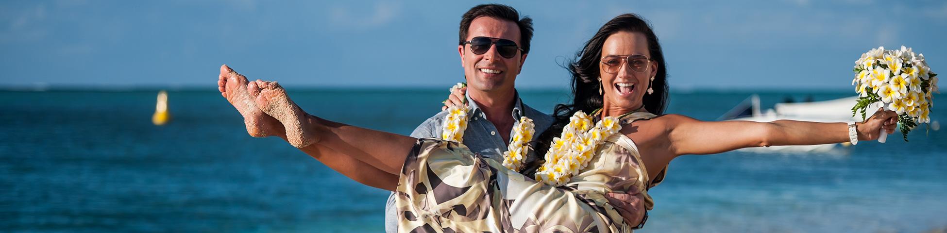 您在毛里求斯的热带婚礼。